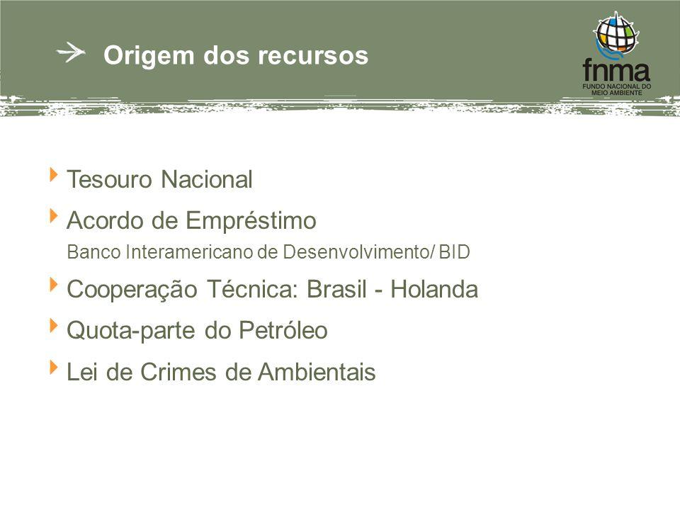 Origem dos recursos Tesouro Nacional Acordo de Empréstimo Banco Interamericano de Desenvolvimento/ BID Cooperação Técnica: Brasil - Holanda Quota-parte do Petróleo Lei de Crimes de Ambientais