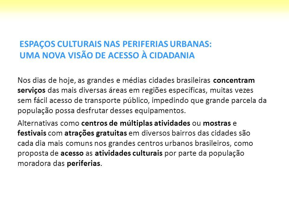 Entretanto, onde estão os espaços para que essa população possa se reunir para discutir e produzir sua própria cultura.