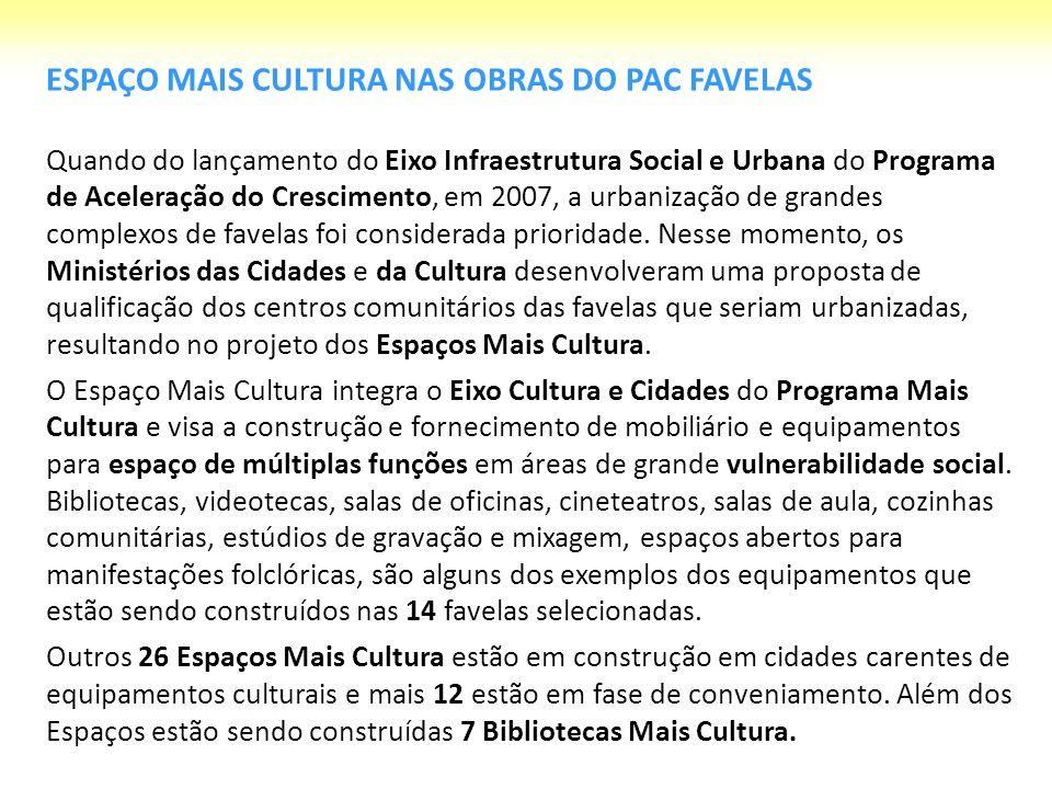 14 Espaços Mais Cultura estão sendo construídos nas cidades: Maceió São Paulo Recife Curitiba Campo Grande Salvador Florianópolis São Luis Rio de Janeiro Palmas Santos Natal 87 ações em 70 municípios de 18 Estados + DF: R$ 89,9 milhões