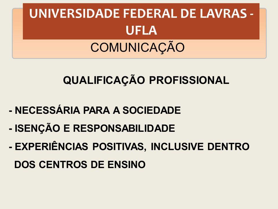 UNIVERSIDADE FEDERAL DE LAVRAS - UFLA COMUNICAÇÃO QUALIFICAÇÃO PROFISSIONAL - NECESSÁRIA PARA A SOCIEDADE - ISENÇÃO E RESPONSABILIDADE - EXPERIÊNCIAS