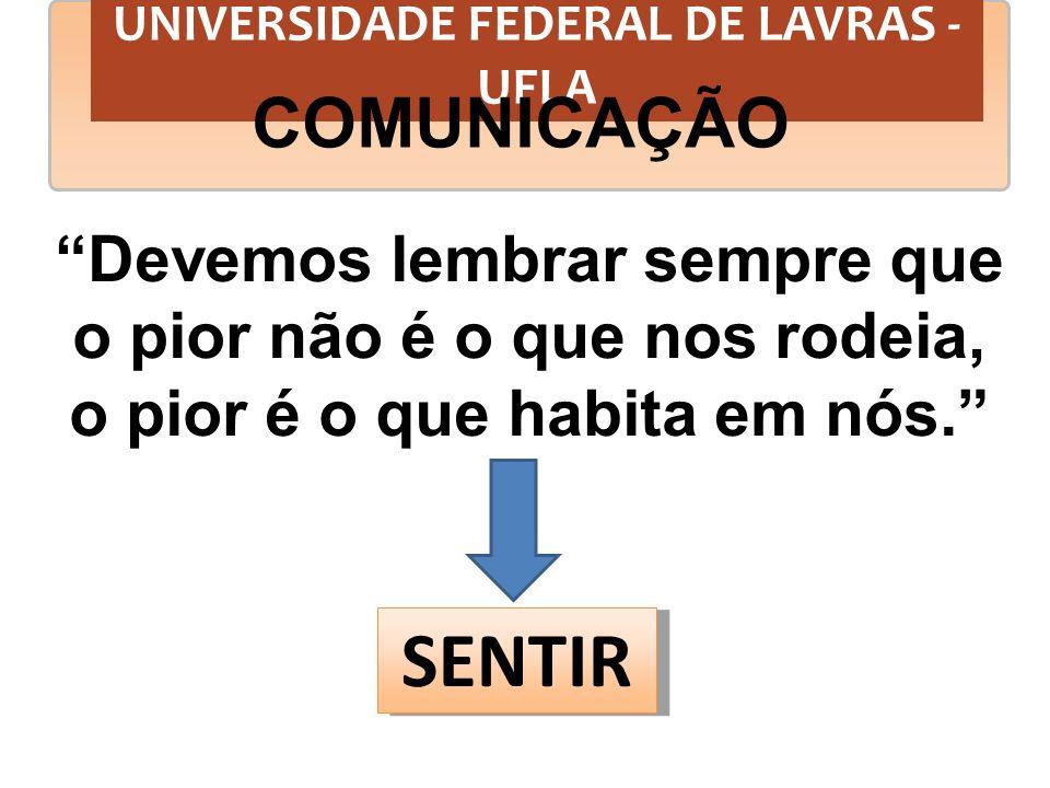 UNIVERSIDADE FEDERAL DE LAVRAS - UFLA COMUNICAÇÃO TORNAMO-NOS DOENTES A MEDIDA EM QUE GUARDAMOS NOSSOS SEGREDOS.