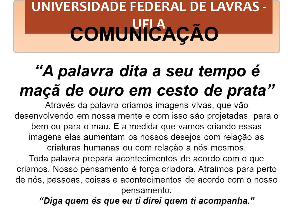 UNIVERSIDADE FEDERAL DE LAVRAS - UFLA COMUNICAÇÃO 7% = PALAVRA 33% = MUSICALIDADE 60% = CORPO FALA
