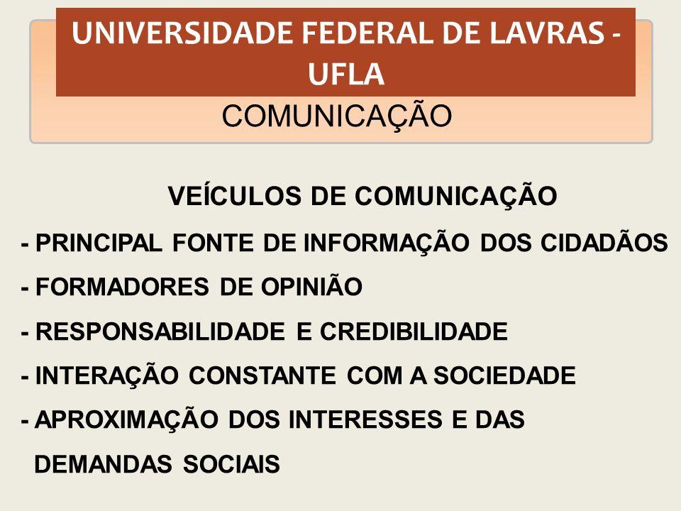 UNIVERSIDADE FEDERAL DE LAVRAS - UFLA COMUNICAÇÃO VEÍCULOS DE COMUNICAÇÃO - PRINCIPAL FONTE DE INFORMAÇÃO DOS CIDADÃOS - FORMADORES DE OPINIÃO - RESPO