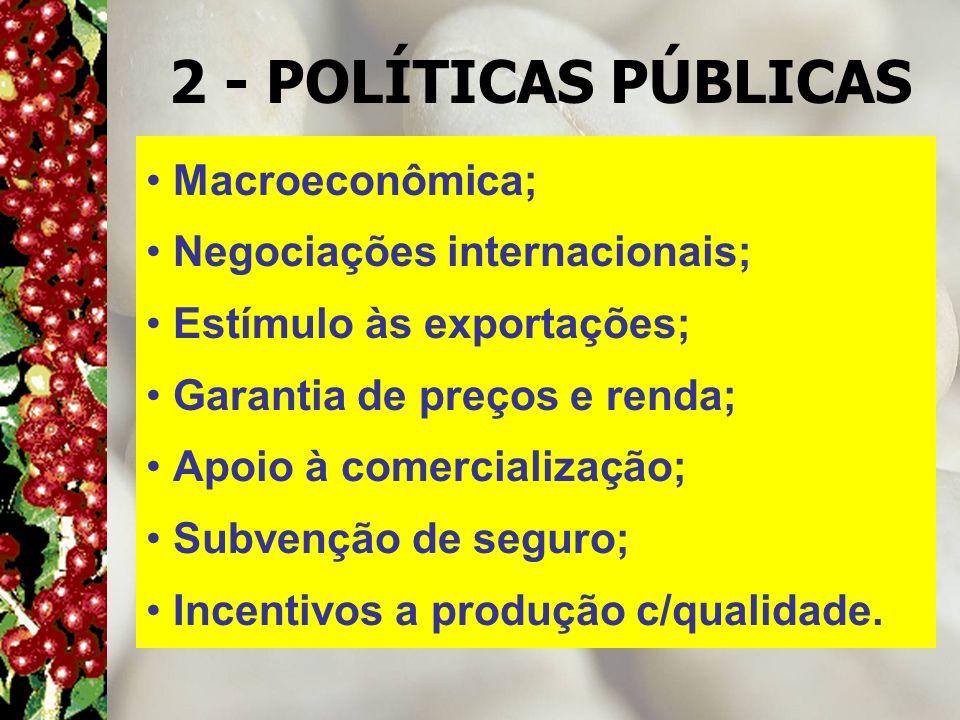 2 - POLÍTICAS PÚBLICAS Macroeconômica; Negociações internacionais; Estímulo às exportações; Garantia de preços e renda; Apoio à comercialização; Subve