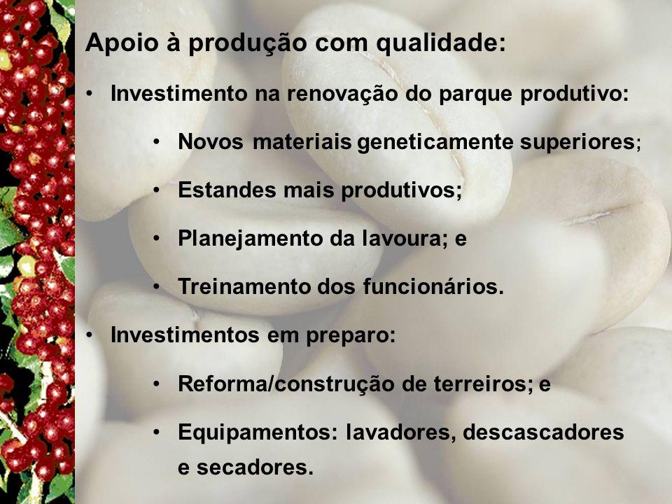 Apoio à produção com qualidade: Investimento na renovação do parque produtivo: Novos materiais geneticamente superiores ; Estandes mais produtivos; Pl