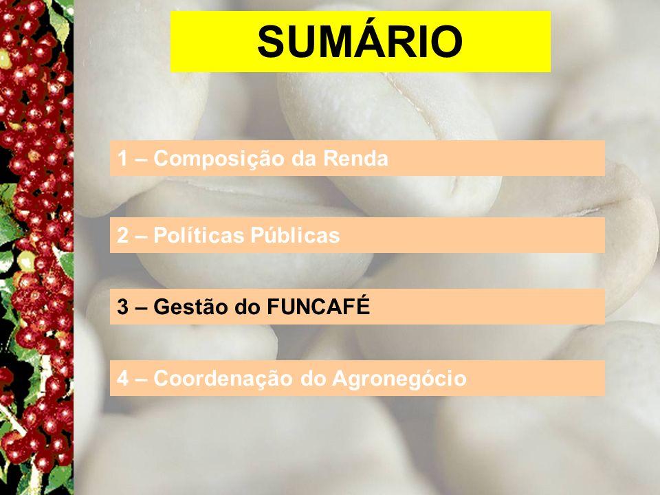 SUMÁRIO 1 – Composição da Renda 2 – Políticas Públicas 3 – Gestão do FUNCAFÉ 4 – Coordenação do Agronegócio