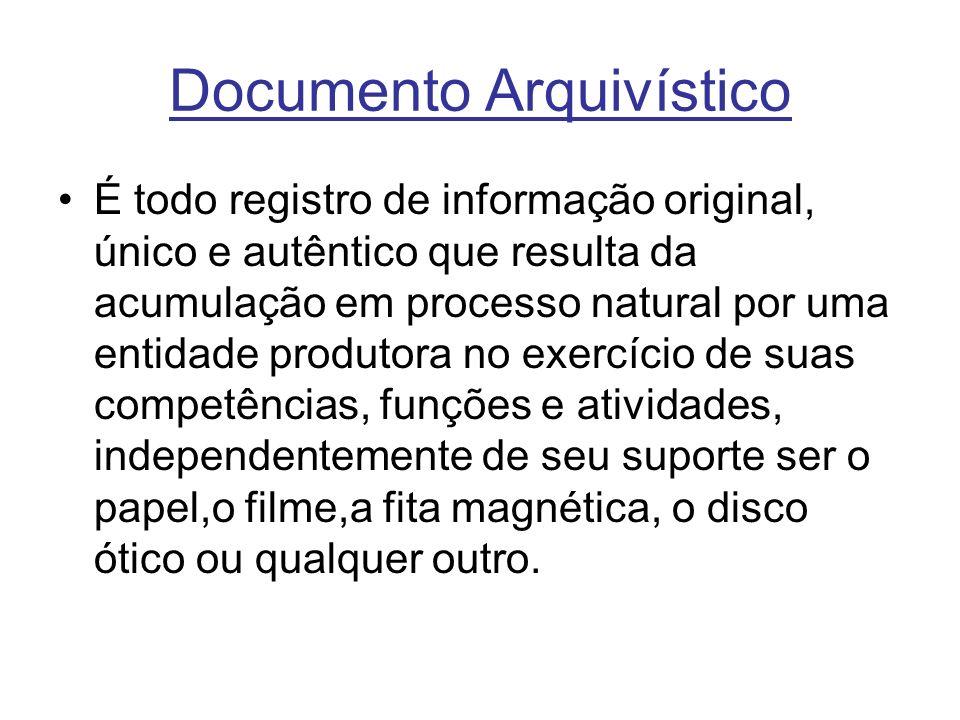 Documento Arquivístico É todo registro de informação original, único e autêntico que resulta da acumulação em processo natural por uma entidade produtora no exercício de suas competências, funções e atividades, independentemente de seu suporte ser o papel,o filme,a fita magnética, o disco ótico ou qualquer outro.