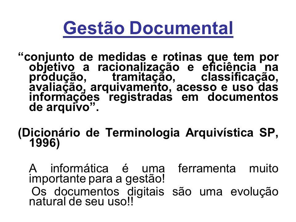 Gestão Documental conjunto de medidas e rotinas que tem por objetivo a racionalização e eficiência na produção, tramitação, classificação, avaliação, arquivamento, acesso e uso das informações registradas em documentos de arquivo.