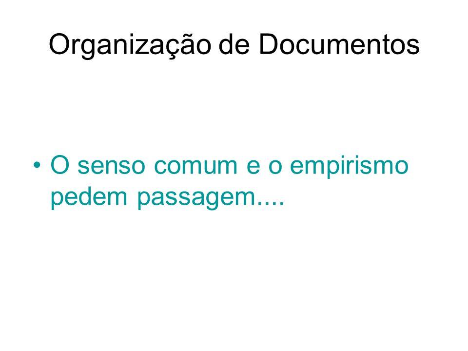 Organização de Documentos O senso comum e o empirismo pedem passagem....