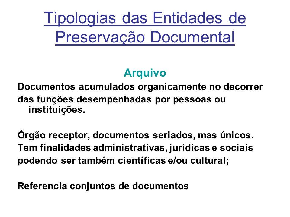Tipologias das Entidades de Preservação Documental Arquivo Documentos acumulados organicamente no decorrer das funções desempenhadas por pessoas ou instituições.