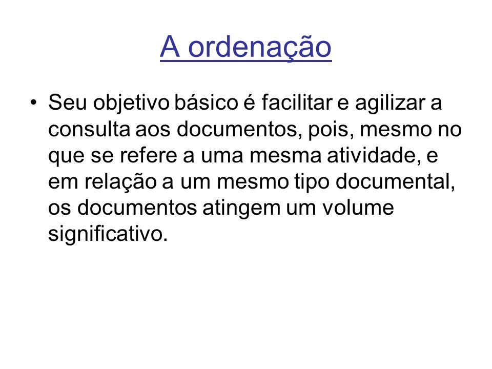 A ordenação Seu objetivo básico é facilitar e agilizar a consulta aos documentos, pois, mesmo no que se refere a uma mesma atividade, e em relação a um mesmo tipo documental, os documentos atingem um volume significativo.