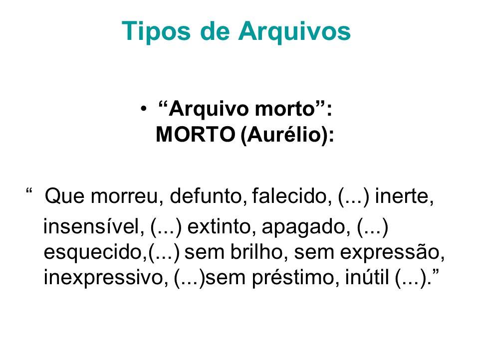 Tipos de Arquivos Arquivo morto: MORTO (Aurélio): Que morreu, defunto, falecido, (...) inerte, insensível, (...) extinto, apagado, (...) esquecido,(...) sem brilho, sem expressão, inexpressivo, (...)sem préstimo, inútil (...).