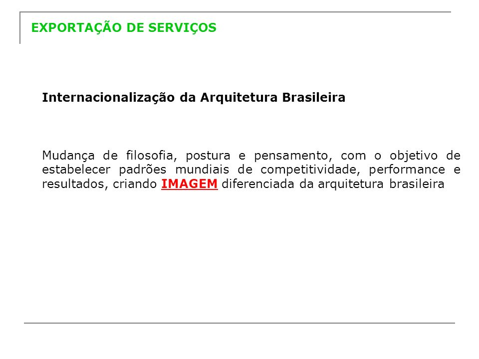 A AsBEA E O PROJETO PROGRAMA DE INTERNACIONALIZAÇÃO DA ARQUITETURA A AsBEA, foi a Entidade escolhida pela APEX para realizar este projeto.