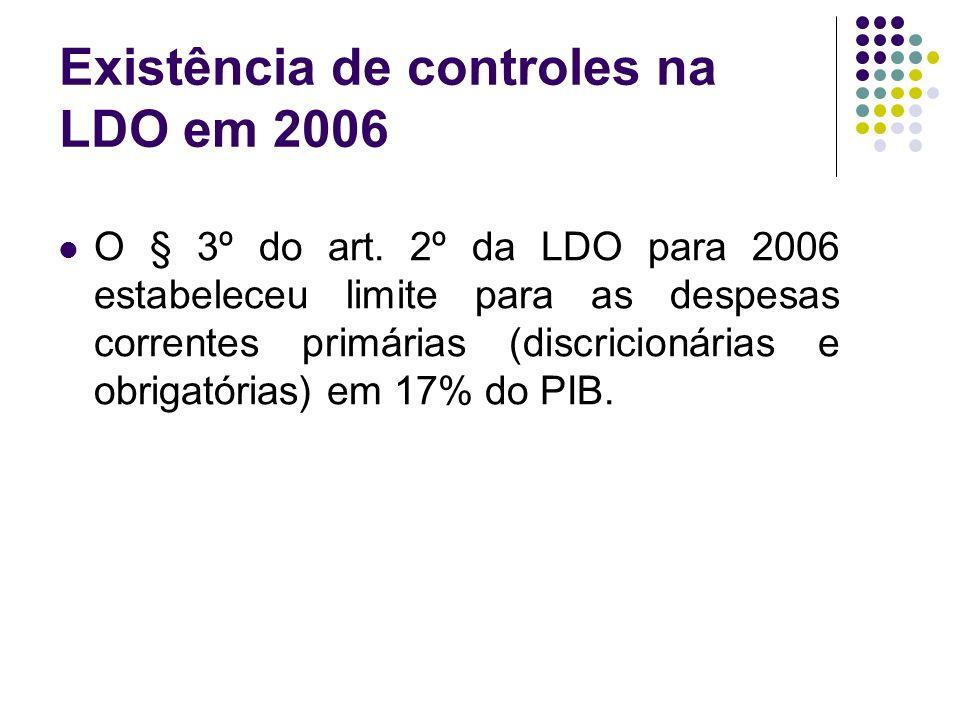 Existência de controles na LDO em 2006 O § 3º do art.