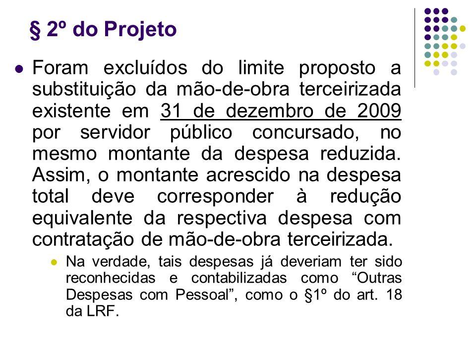 § 2º do Projeto Foram excluídos do limite proposto a substituição da mão-de-obra terceirizada existente em 31 de dezembro de 2009 por servidor público concursado, no mesmo montante da despesa reduzida.
