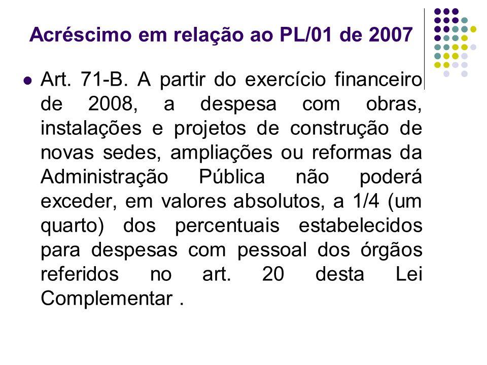 Acréscimo em relação ao PL/01 de 2007 Art. 71-B.