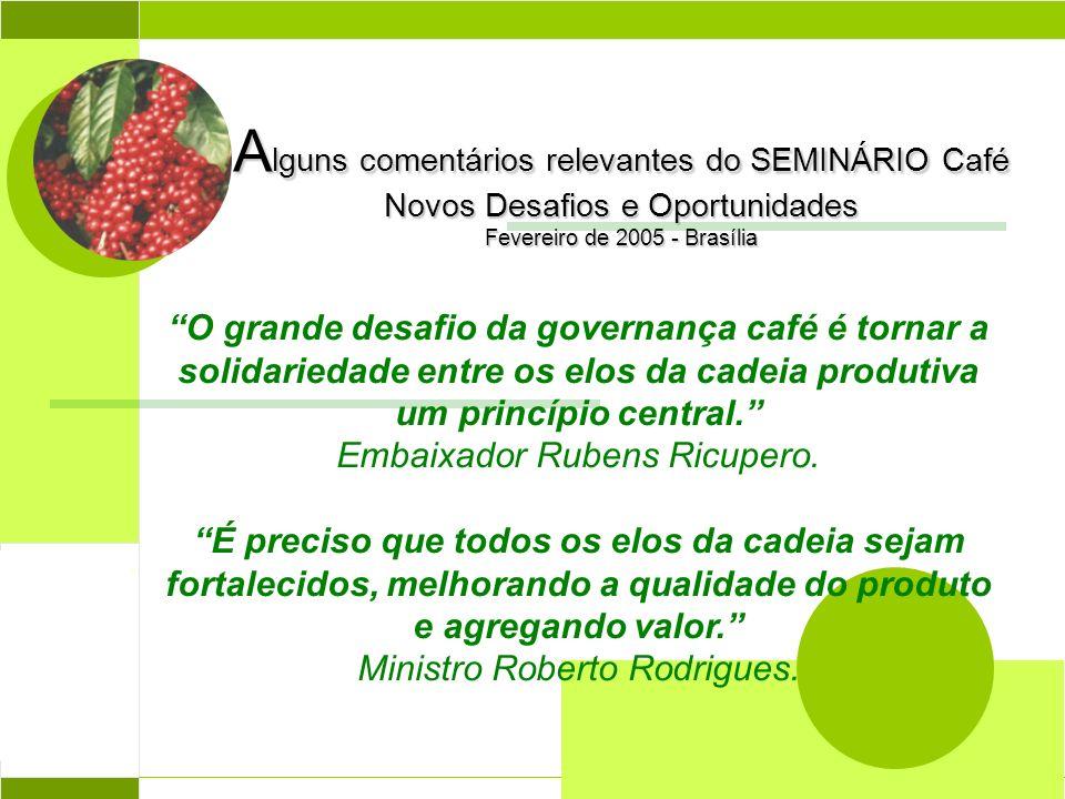 A lguns comentários relevantes do SEMINÁRIO Café Novos Desafios e Oportunidades Fevereiro de 2005 - Brasília O grande desafio da governança café é tor