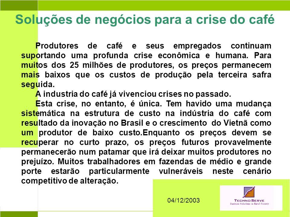 Abril 2004 Produtores de café e seus empregados continuam suportando uma profunda crise econômica e humana. Para muitos dos 25 milhões de produtores,