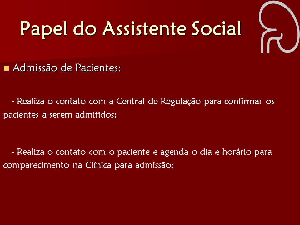 Papel do Assistente Social - Realiza o contato com o paciente e agenda o dia e horário para comparecimento na Clínica para admissão; Admissão de Pacie