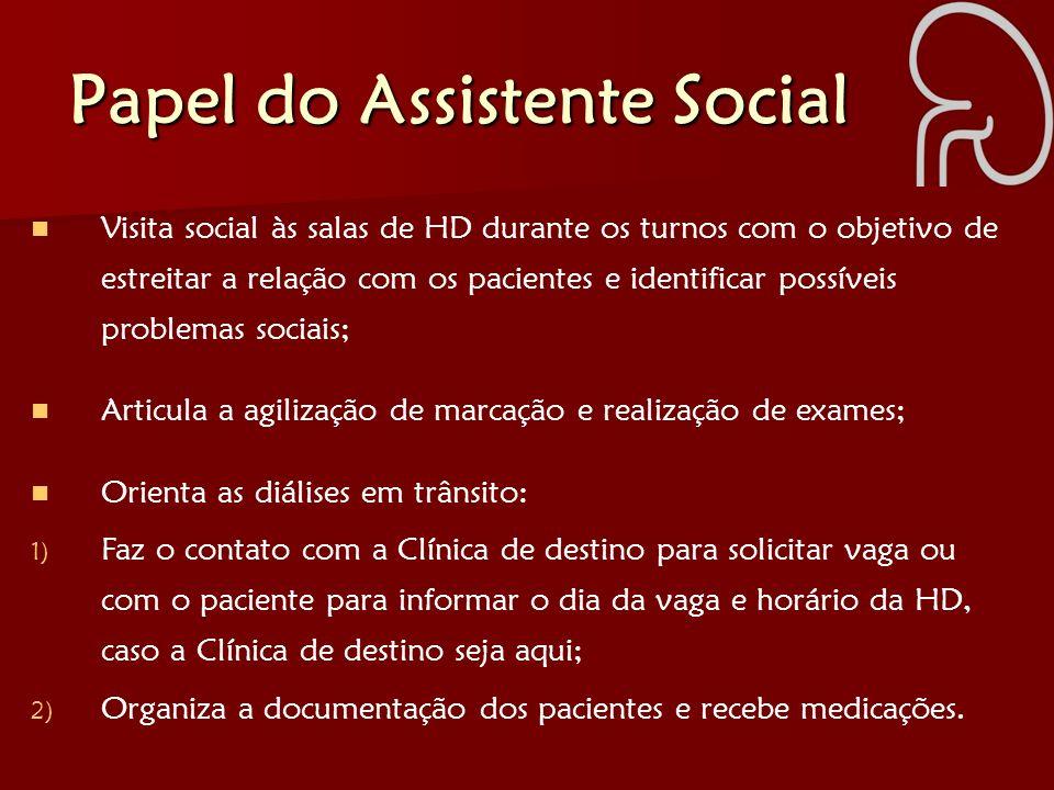 Papel do Assistente Social Visita social às salas de HD durante os turnos com o objetivo de estreitar a relação com os pacientes e identificar possíve