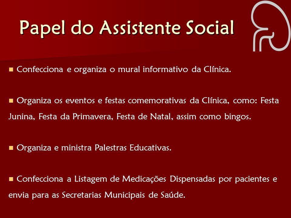 Papel do Assistente Social Confecciona e organiza o mural informativo da Clínica. Organiza os eventos e festas comemorativas da Clínica, como: Festa J