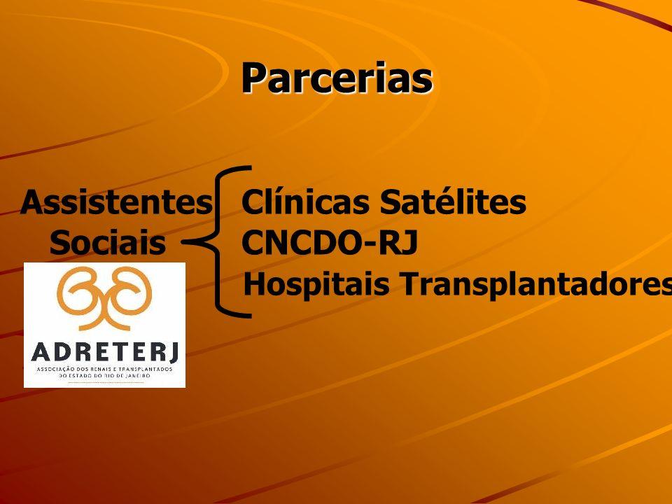 Parcerias Assistentes Clínicas Satélites Sociais CNCDO-RJ Hospitais Transplantadores