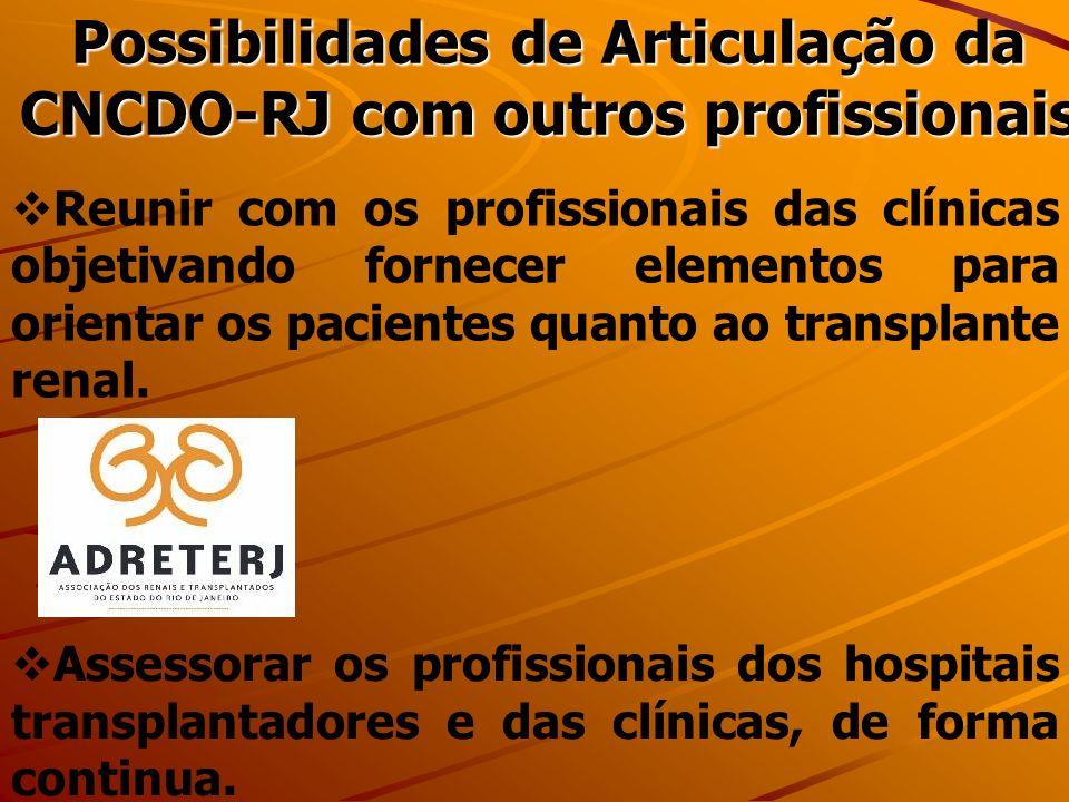 Possibilidades de Articulação da CNCDO-RJ com outros profissionais Reunir com os profissionais das clínicas objetivando fornecer elementos para orientar os pacientes quanto ao transplante renal.
