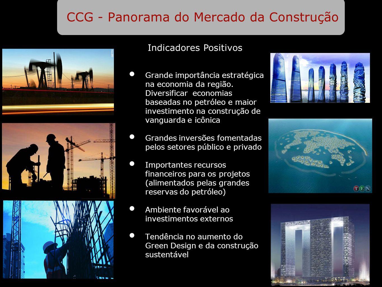 CCG - Panorama do Mercado da Construção Grande importância estratégica na economia da região. Diversificar economias baseadas no petróleo e maior inve
