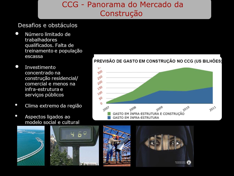 CCG - Panorama do Mercado da Construção Número limitado de trabalhadores qualificados. Falta de treinamento e população escassa Investimento concentra