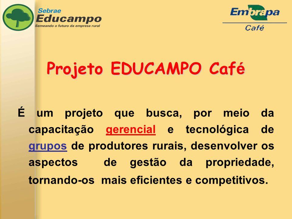 Projeto EDUCAMPO Caf é É um projeto que busca, por meio da capacitação gerencial e tecnológica de grupos de produtores rurais, desenvolver os aspectos de gestão da propriedade, tornando-os mais eficientes e competitivos.