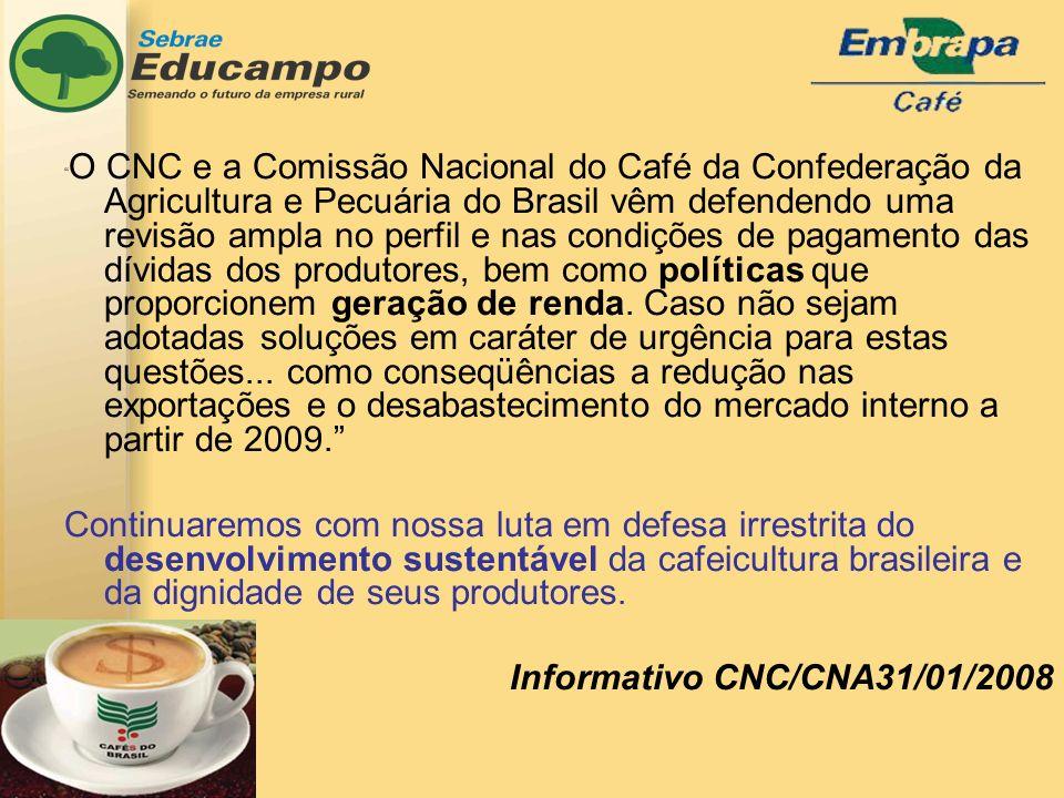 O CNC e a Comissão Nacional do Café da Confederação da Agricultura e Pecuária do Brasil vêm defendendo uma revisão ampla no perfil e nas condições de pagamento das dívidas dos produtores, bem como políticas que proporcionem geração de renda.