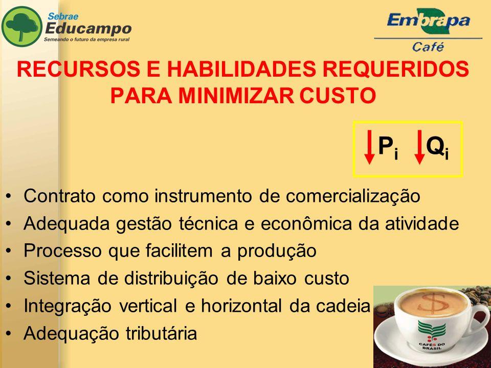 RECURSOS E HABILIDADES REQUERIDOS PARA MINIMIZAR CUSTO Contrato como instrumento de comercialização Adequada gestão técnica e econômica da atividade P