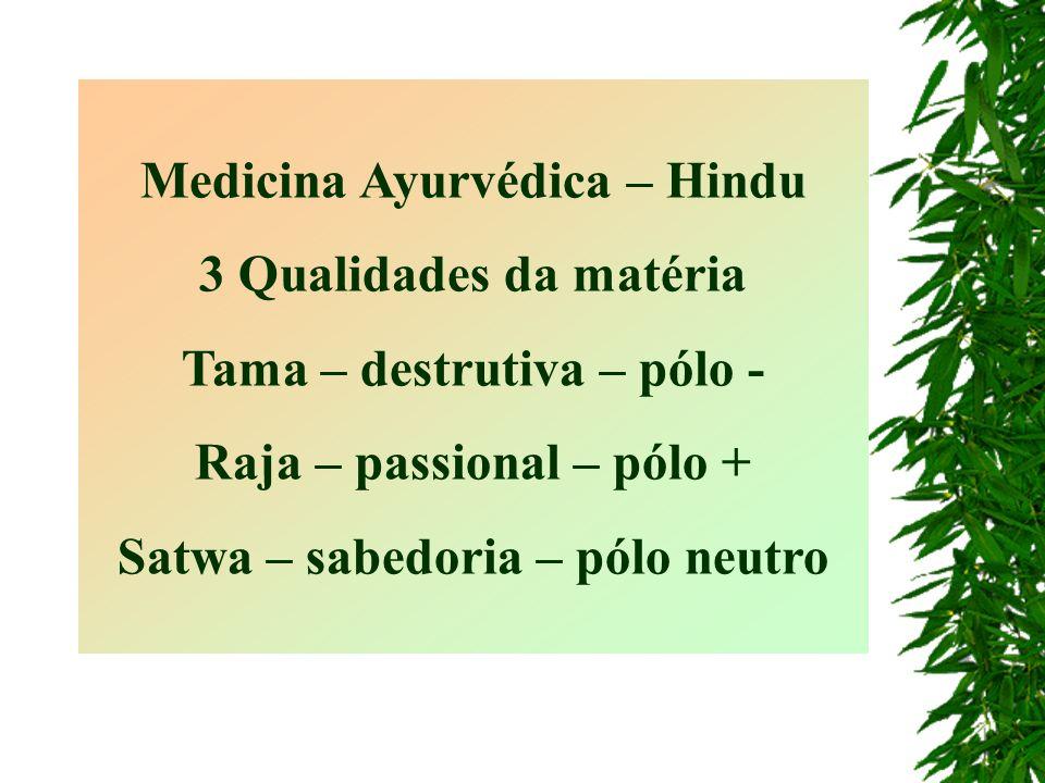 Medicina Ayurvédica – Hindu 3 Qualidades da matéria Tama – destrutiva – pólo - Raja – passional – pólo + Satwa – sabedoria – pólo neutro