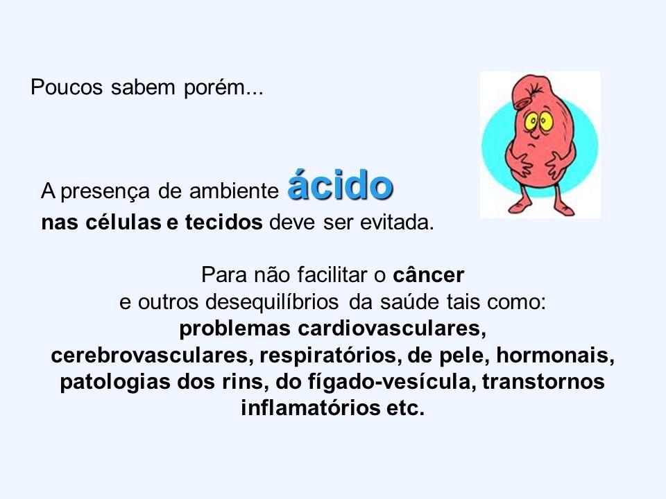 Poucos sabem porém... A presença de ambiente á áá ácido nas células e tecidos deve ser evitada. Para não facilitar o câncer e outros desequilíbrios da