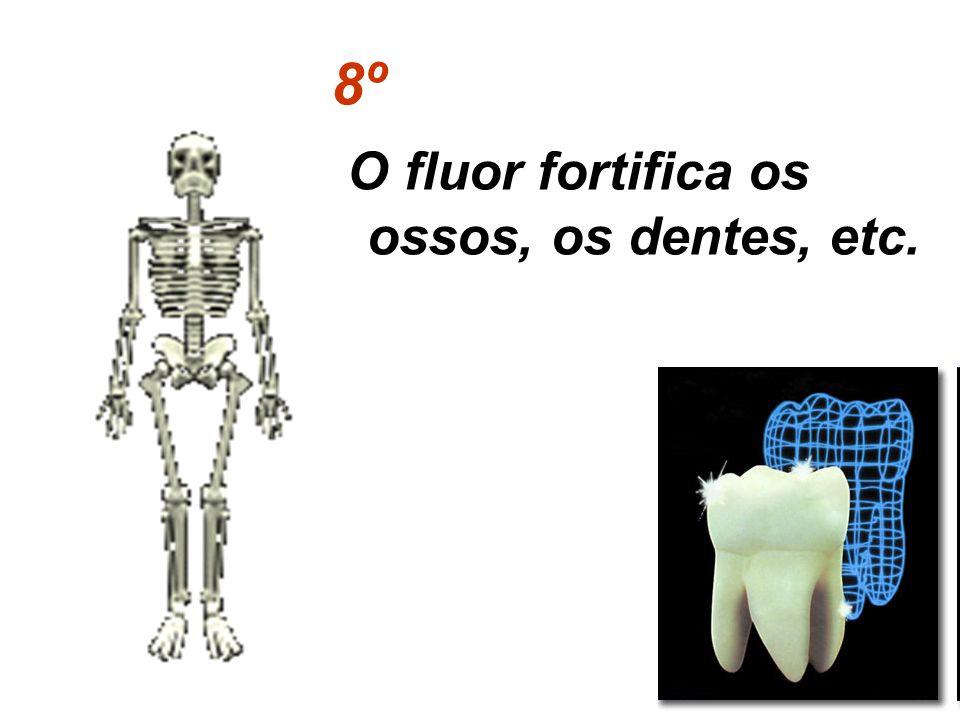 8º O fluor fortifica os ossos, os dentes, etc.