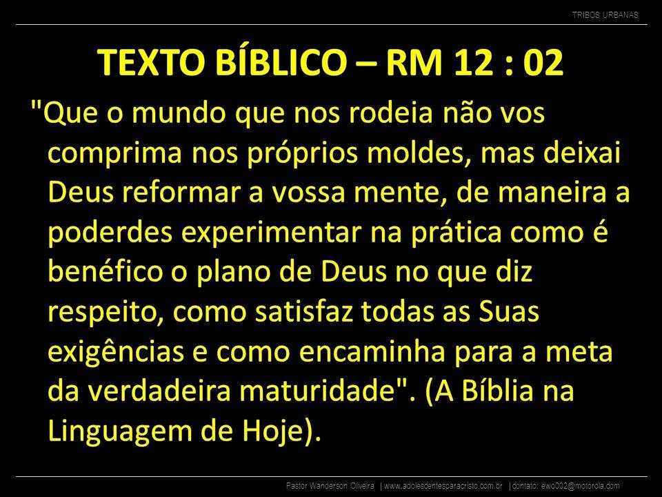 Pastor Wanderson Oliveira | www.adolescentesparacristo.com.br | contato: ewo002@motorola.com TRIBOS URBANAS BALADEIROS Balada é algo que precisamos para poder continuar neste mundo muito doido.