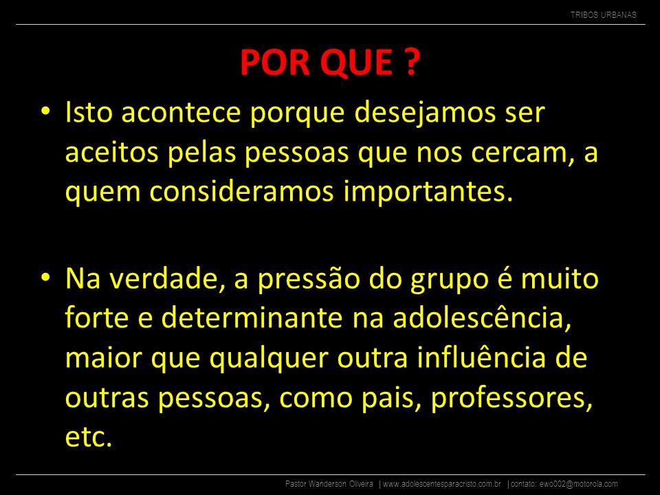 Pastor Wanderson Oliveira | www.adolescentesparacristo.com.br | contato: ewo002@motorola.com TRIBOS URBANAS POR QUE .
