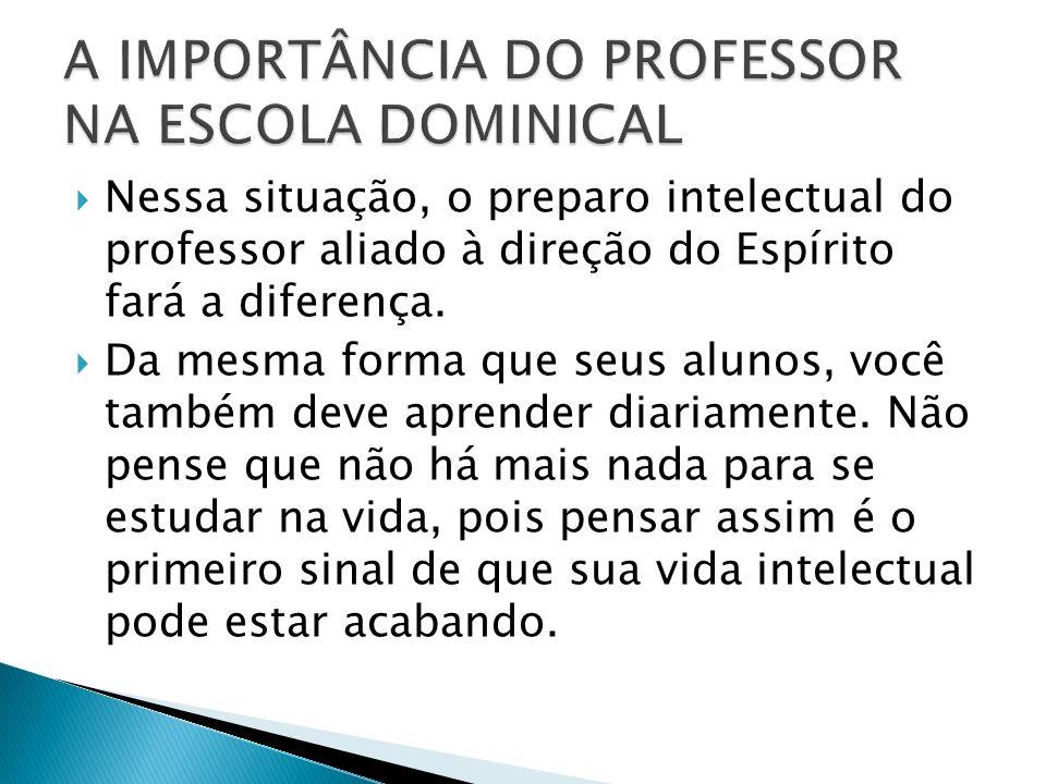 Nessa situação, o preparo intelectual do professor aliado à direção do Espírito fará a diferença.