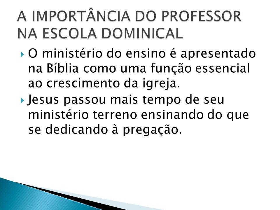 O ministério do ensino é apresentado na Bíblia como uma função essencial ao crescimento da igreja. Jesus passou mais tempo de seu ministério terreno e