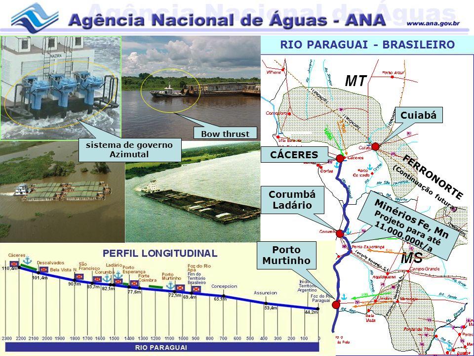 RIO PARAGUAI - BRASILEIRO CÁCERES Corumbá Ladário Porto Murtinho FERRONORTE (Continuação futura) Cuiabá Minérios Fe, Mn Projeto para até 11.000.000t/a