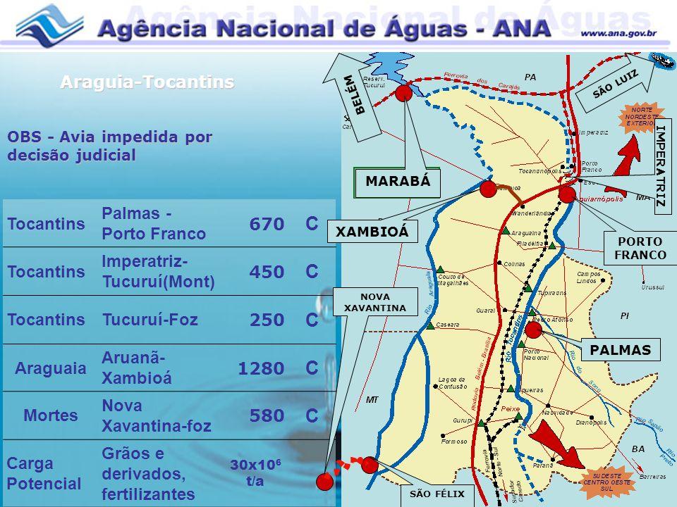 Tocantins Palmas - Porto Franco 670 C Tocantins Imperatriz- Tucuruí(Mont) 450 C TocantinsTucuruí-Foz 250 C Araguaia Aruanã- Xambioá 1280 C Mortes Nova