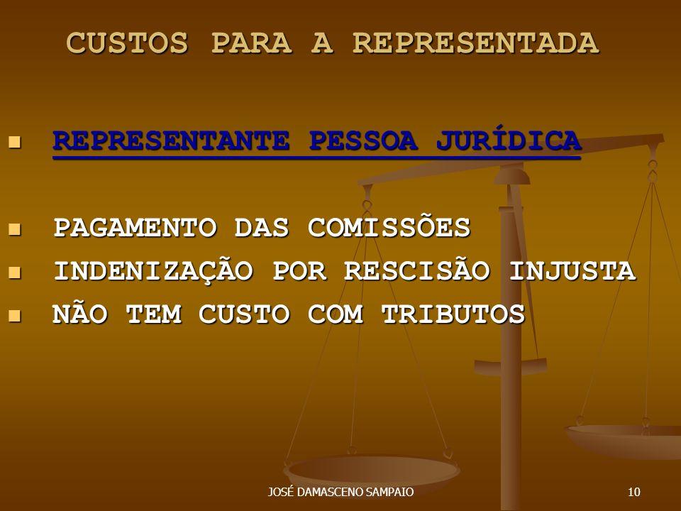 JOSÉ DAMASCENO SAMPAIO10 CUSTOS PARA A REPRESENTADA REPRESENTANTE PESSOA JURÍDICA REPRESENTANTE PESSOA JURÍDICA PAGAMENTO DAS COMISSÕES PAGAMENTO DAS