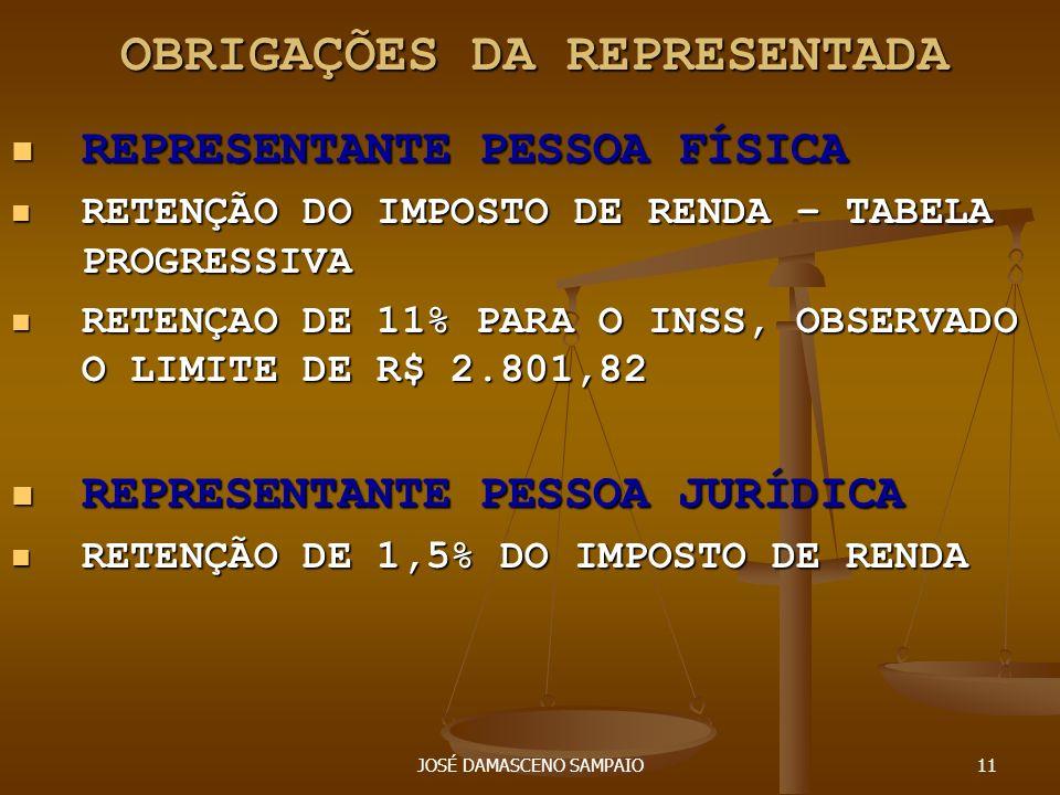 JOSÉ DAMASCENO SAMPAIO11 OBRIGAÇÕES DA REPRESENTADA OBRIGAÇÕES DA REPRESENTADA REPRESENTANTE PESSOA FÍSICA REPRESENTANTE PESSOA FÍSICA RETENÇÃO DO IMP