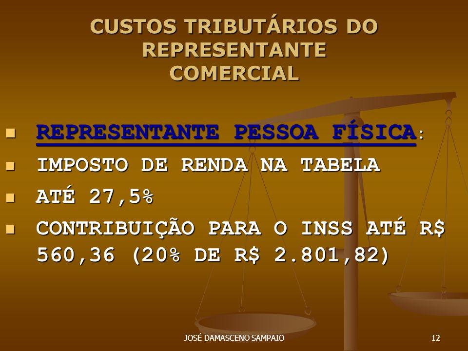 JOSÉ DAMASCENO SAMPAIO12 CUSTOS TRIBUTÁRIOS DO REPRESENTANTE COMERCIAL REPRESENTANTE PESSOA FÍSICA : REPRESENTANTE PESSOA FÍSICA : IMPOSTO DE RENDA NA