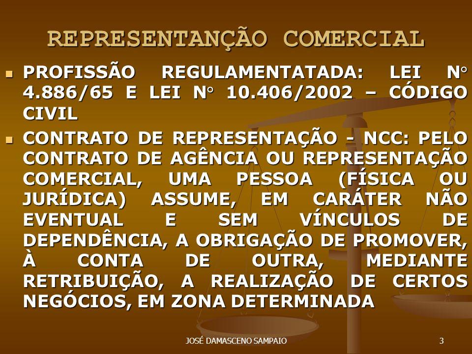 JOSÉ DAMASCENO SAMPAIO3 REPRESENTANÇÃO COMERCIAL PROFISSÃO REGULAMENTATADA: LEI N° 4.886/65 E LEI N° 10.406/2002 – CÓDIGO CIVIL PROFISSÃO REGULAMENTAT