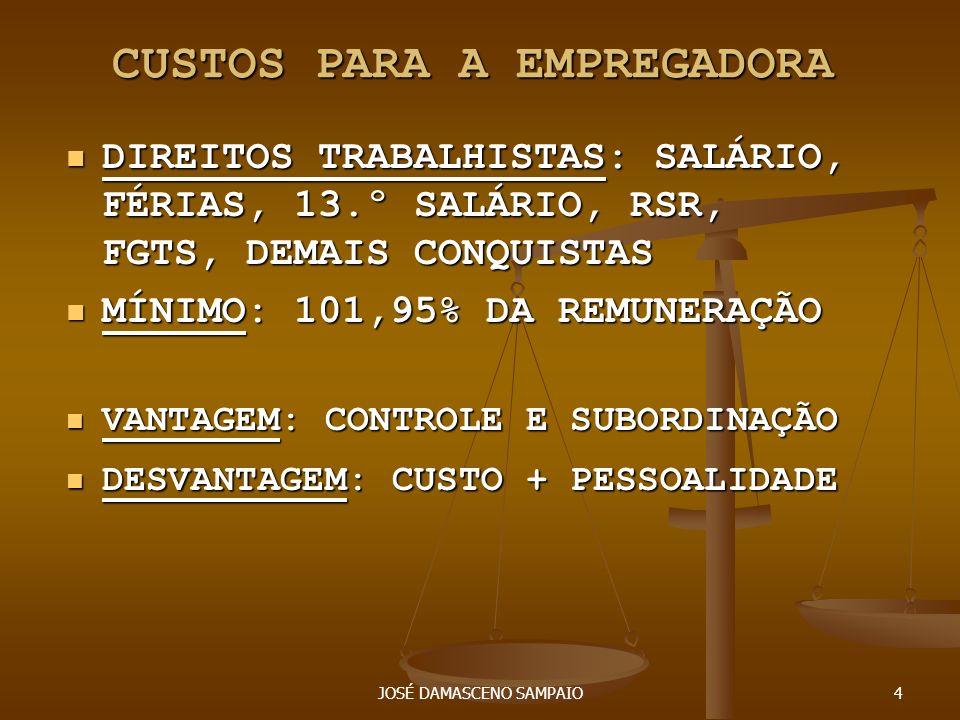 JOSÉ DAMASCENO SAMPAIO4 CUSTOS PARA A EMPREGADORA DIREITOS TRABALHISTAS: SALÁRIO, FÉRIAS, 13.º SALÁRIO, RSR, FGTS, DEMAIS CONQUISTAS DIREITOS TRABALHI
