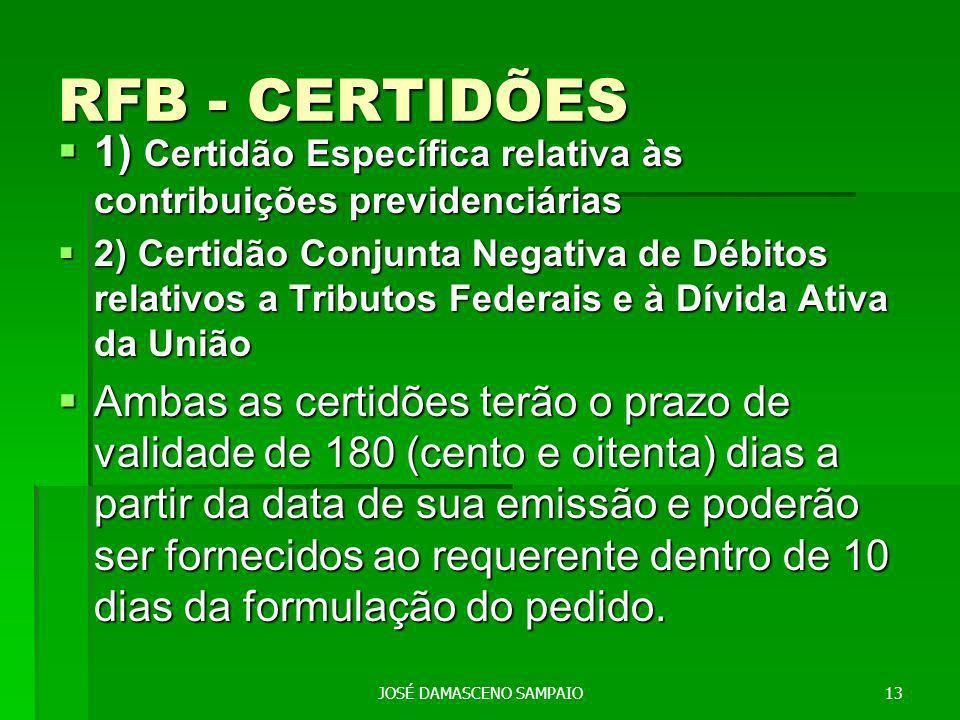 RFB - CERTIDÕES 1) Certidão Específica relativa às contribuições previdenciárias 1) Certidão Específica relativa às contribuições previdenciárias 2) Certidão Conjunta Negativa de Débitos relativos a Tributos Federais e à Dívida Ativa da União 2) Certidão Conjunta Negativa de Débitos relativos a Tributos Federais e à Dívida Ativa da União Ambas as certidões terão o prazo de validade de 180 (cento e oitenta) dias a partir da data de sua emissão e poderão ser fornecidos ao requerente dentro de 10 dias da formulação do pedido.