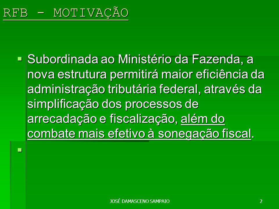 JOSÉ DAMASCENO SAMPAIO3 RFB – INÍCIO E SUBORDINAÇÃO A Secretaria da Receita Federal do Brasil (RFB) começou a funcionar no dia 2 de maio.