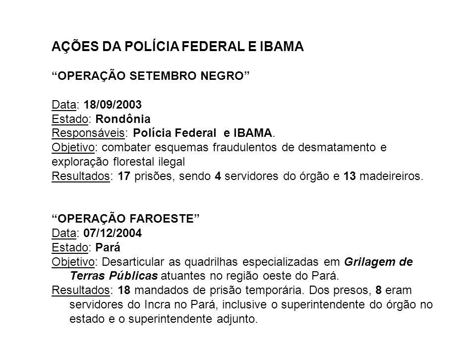 AÇÕES DA POLÍCIA FEDERAL E IBAMA OPERAÇÃO SETEMBRO NEGRO Data: 18/09/2003 Estado: Rondônia Responsáveis: Polícia Federal e IBAMA. Objetivo: combater e