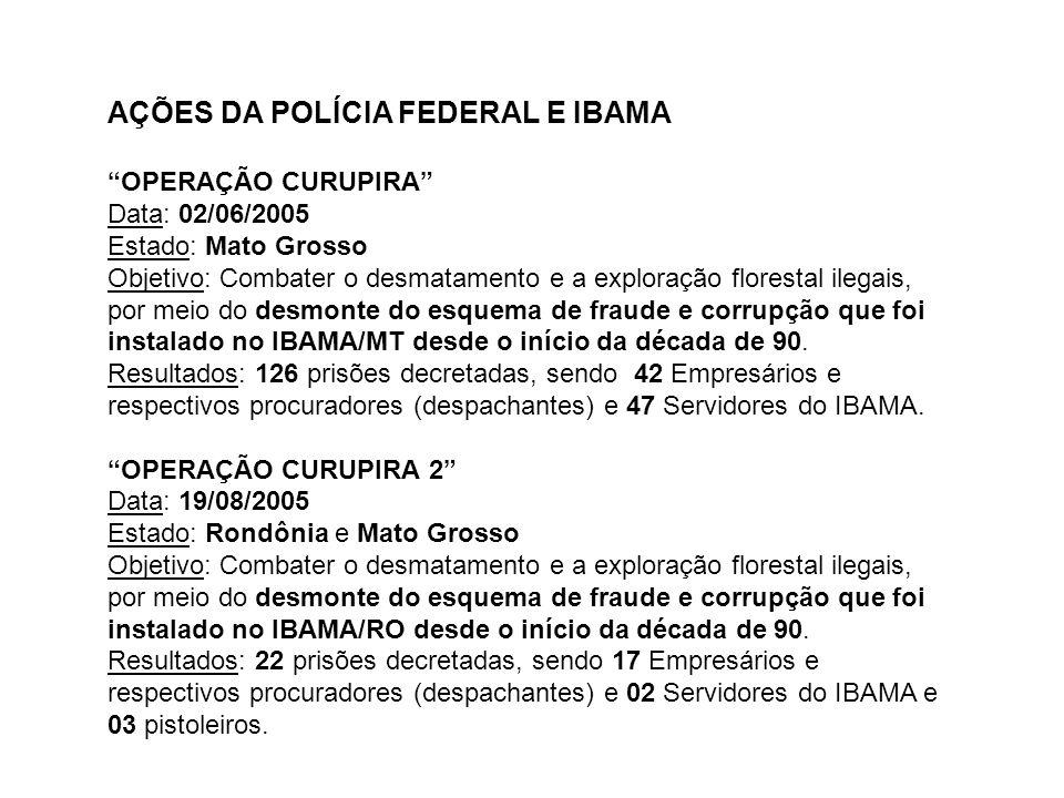 AÇÕES DA POLÍCIA FEDERAL E IBAMA OPERAÇÃO CURUPIRA Data: 02/06/2005 Estado: Mato Grosso Objetivo: Combater o desmatamento e a exploração florestal ile